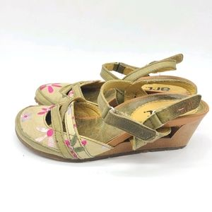 The Art Company Leather and Fabric Floral Wedges